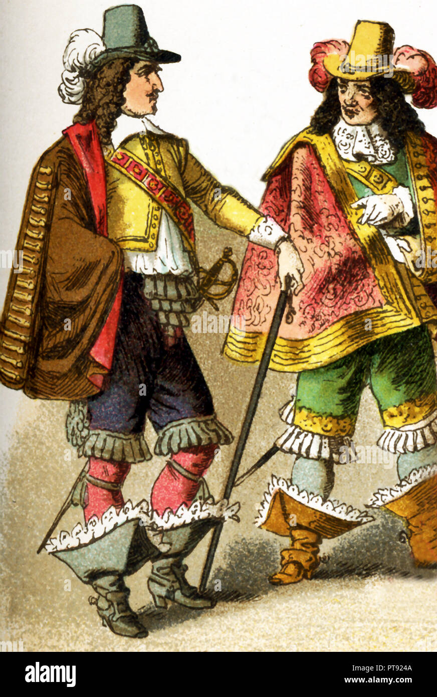 The Figures represented here are  French people living in the 17th century, specifically between 1600 and 1670. They are two lords of the court. The illustration dates to 1882. - Stock Image