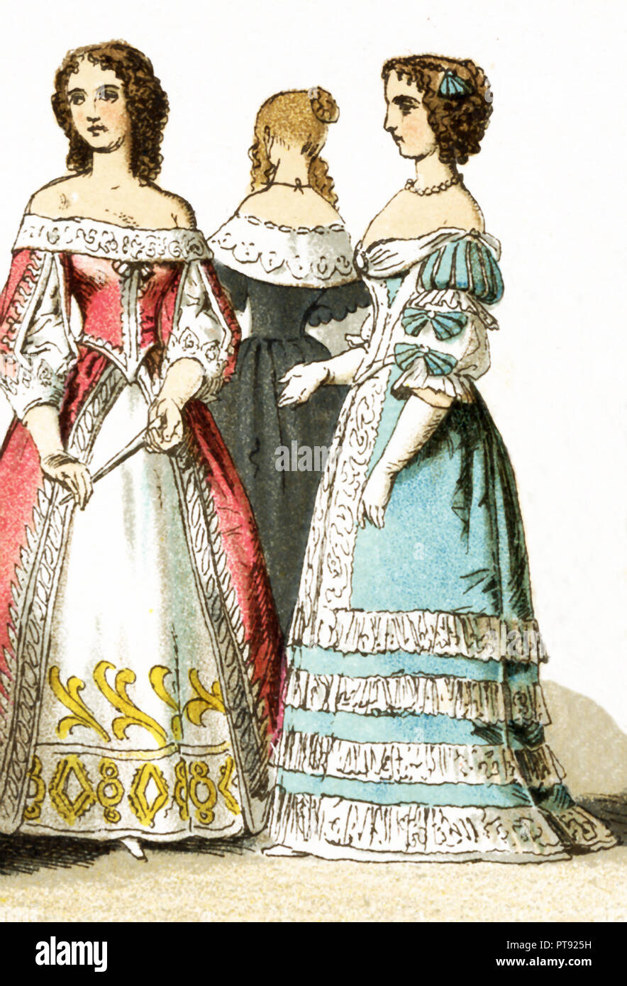 The Figures represented here are all French ladies of the court living in the 17th century, specifically between 1600 and 1670.  The illustration dates to 1882. - Stock Image