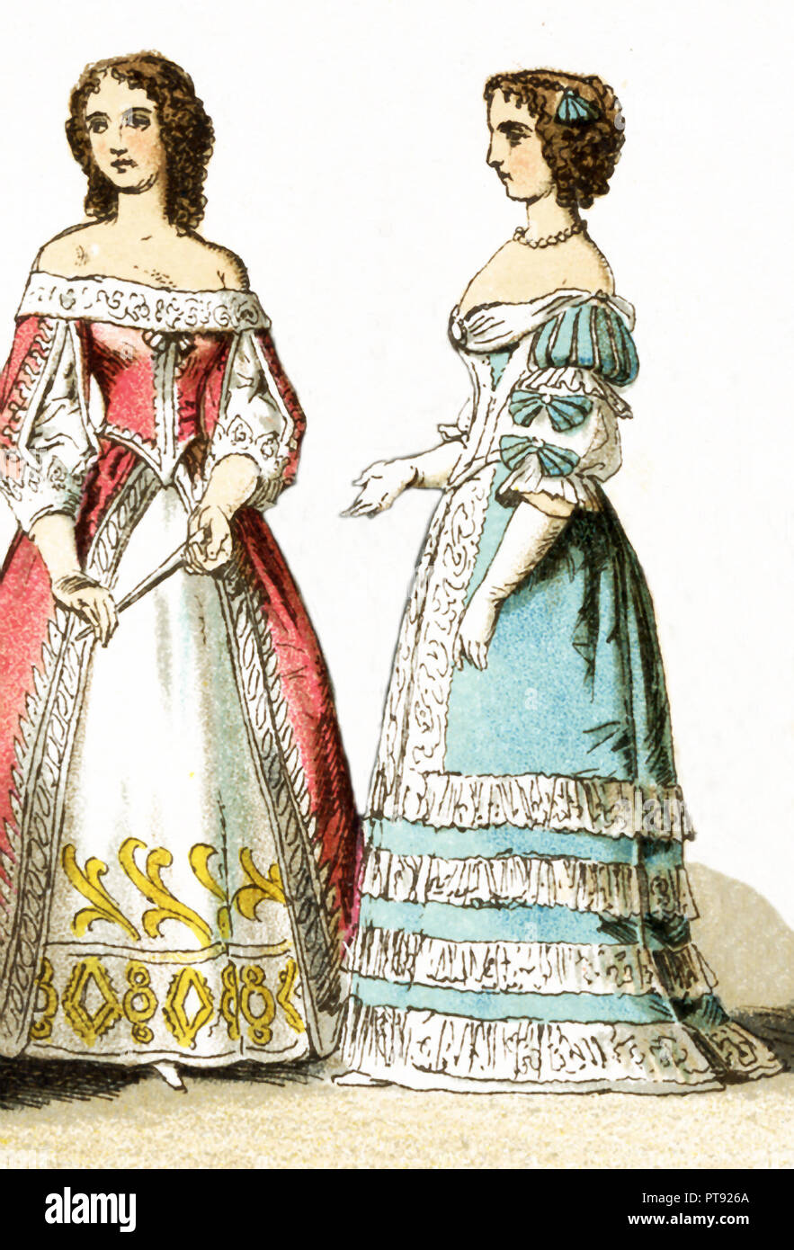 The Figures represented here are two French ladies of the court living in the 17th century, specifically between 1600 and 1670. The illustration dates to 1882. - Stock Image