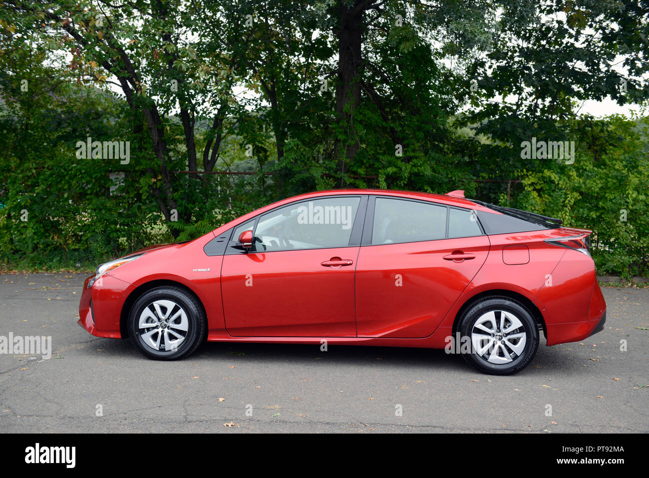 2018 Hypersonic red Prius hybrid - Stock Image