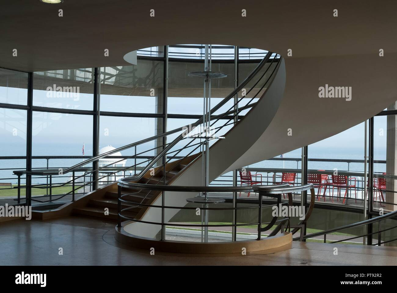 Interior of the De la Warr Pavilion, an art deco, modernist Grade I listed building built in 1935 by Mendelsohn and Chermayeff, now housing one of the biggest art galleries on the south coast, Bexhill, East Sussex, England. - Stock Image