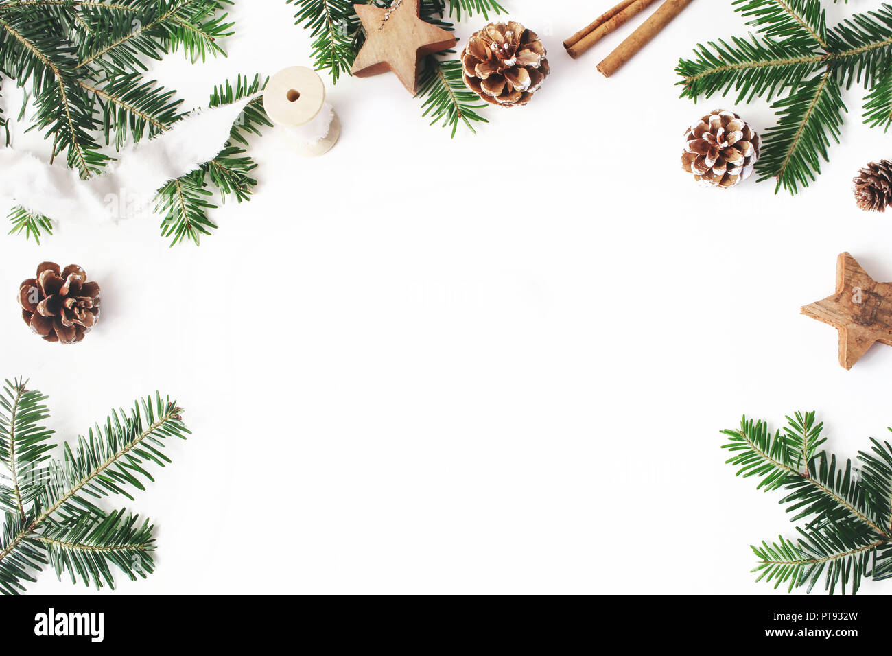 Christmas festive styled stock composition. Decorative floral frame ...