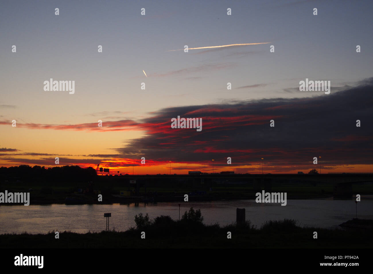 Sunset over the IJssel river near Zwolle, Netherlands - Stock Image