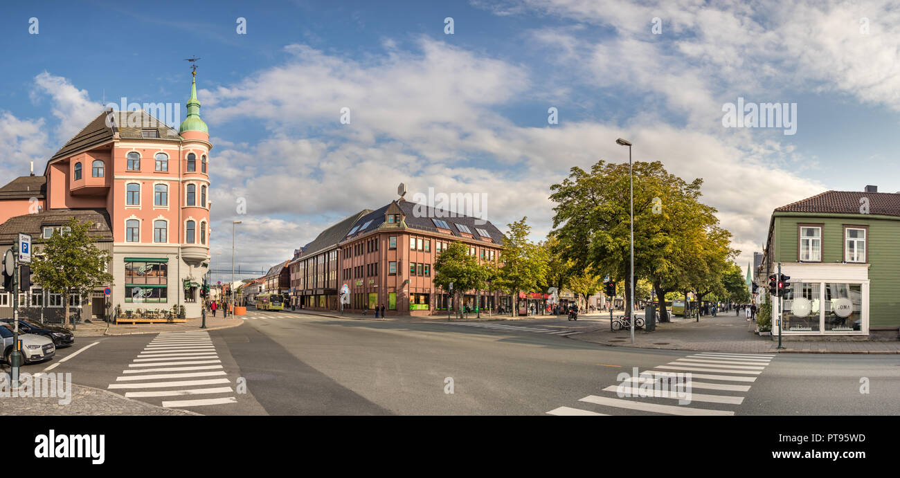 bef98e70 Trondheim, Norway - August 28th, 2018: Panoramic view of Munkegata St. and
