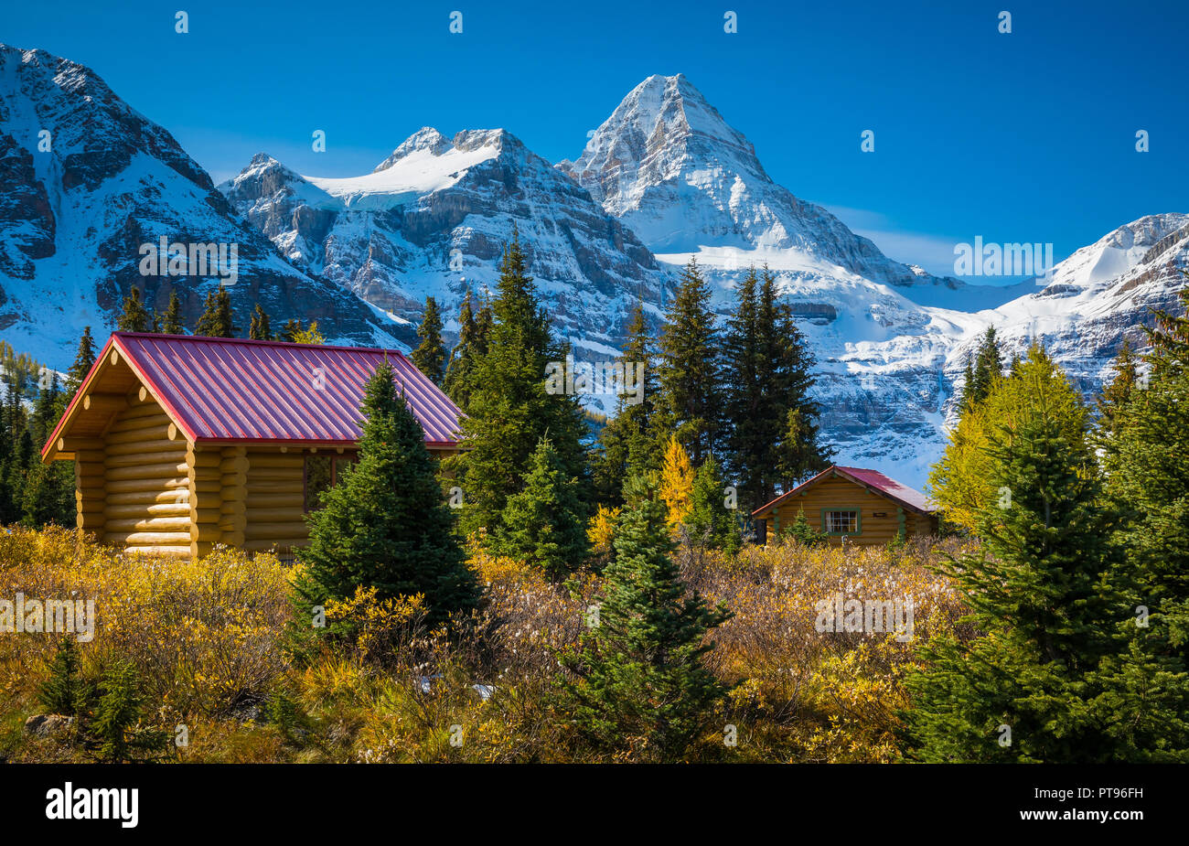 Mount Assiniboine, also known as Assiniboine Mountain, is a pyramidal peak mountain located on the Great Divide, on the British Columbia/Alberta borde - Stock Image