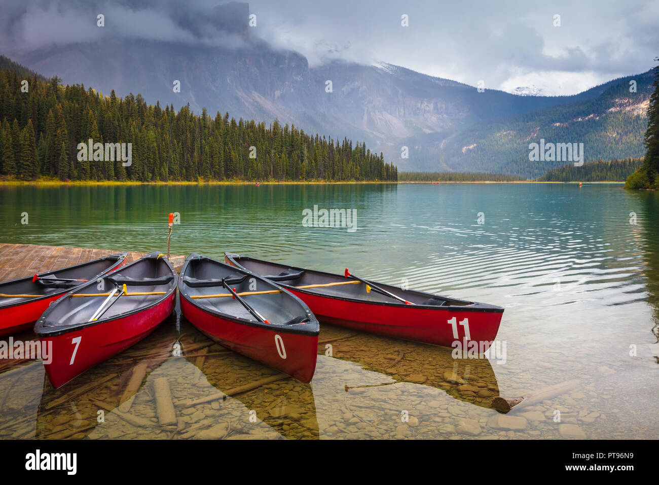 Emerald Lake in Yoho National Park, British Columbia, Canada.   Yoho National Park is located in the Canadian Rocky Mountains along the western slope  - Stock Image