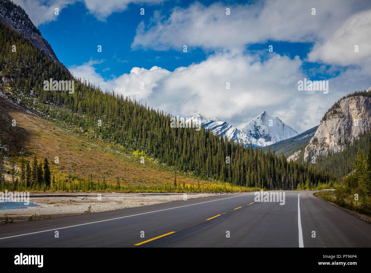Highway 93 is a north-south highway in Alberta, Canada. It is also known as the Banff-Windermere Parkway south of the Trans-Canada Highway (Highway 1) - Stock Image