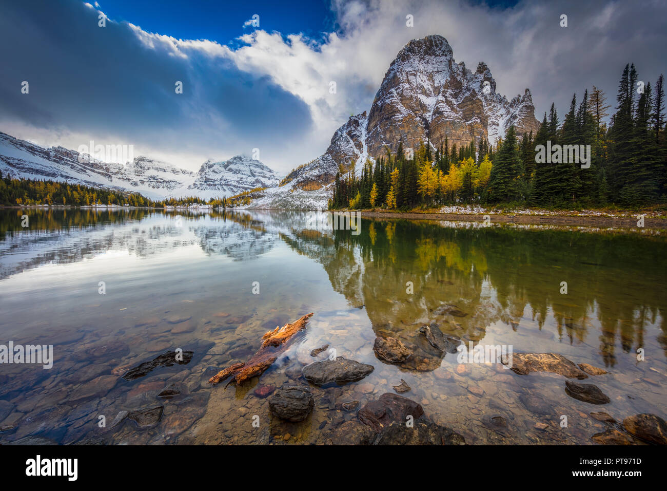 Mount Assiniboine Provincial Park is a provincial park in British Columbia, Canada, located around Mount Assiniboine. Stock Photo