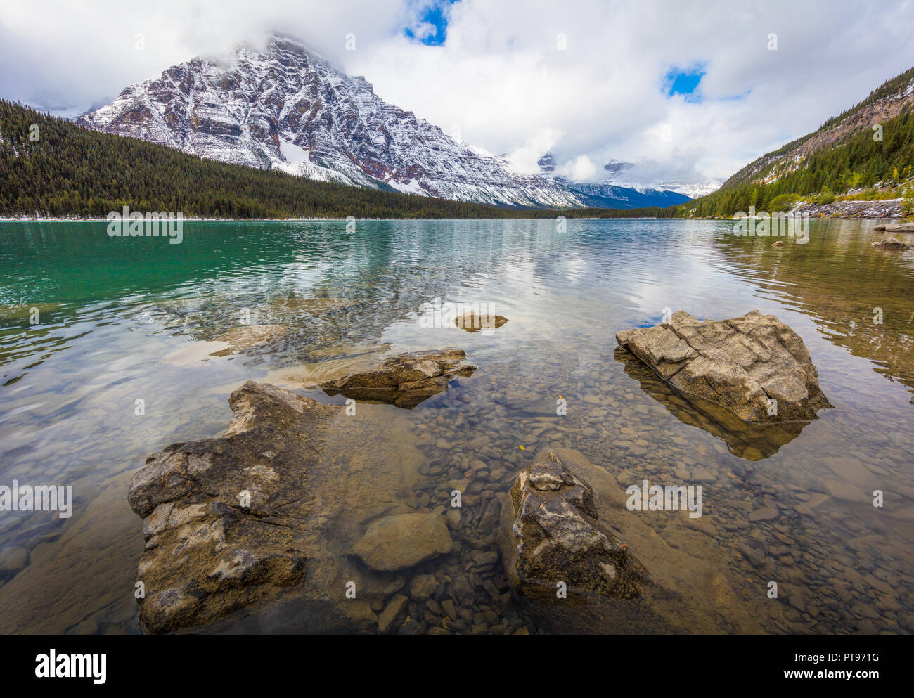 Waterfowl Lake along Icefields Parkway. Highway 93 is a north-south highway in Alberta, Canada. It is also known as the Banff-Windermere Parkway south - Stock Image