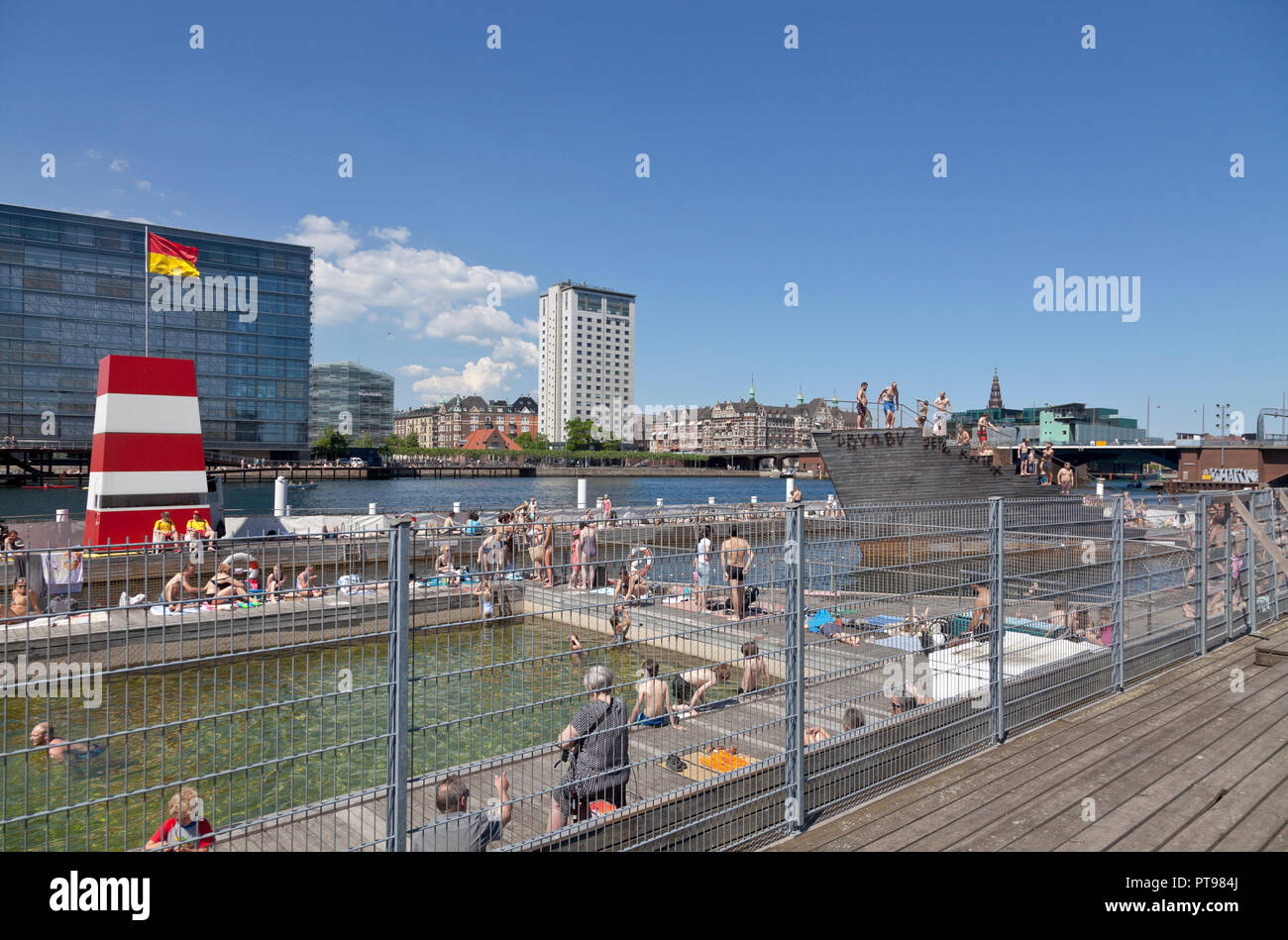 Islands Brygge Harbour Bath Copenhagen, Denmark, on a sunny afternoon. Stock Photo