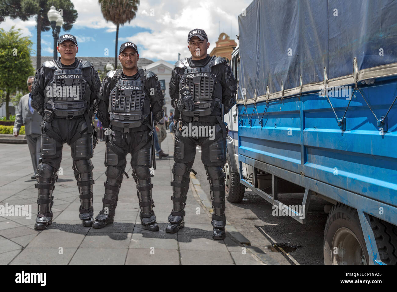 Police Officers Independance Square UNESCO World heritage  Centre Quito Ecuador - Stock Image