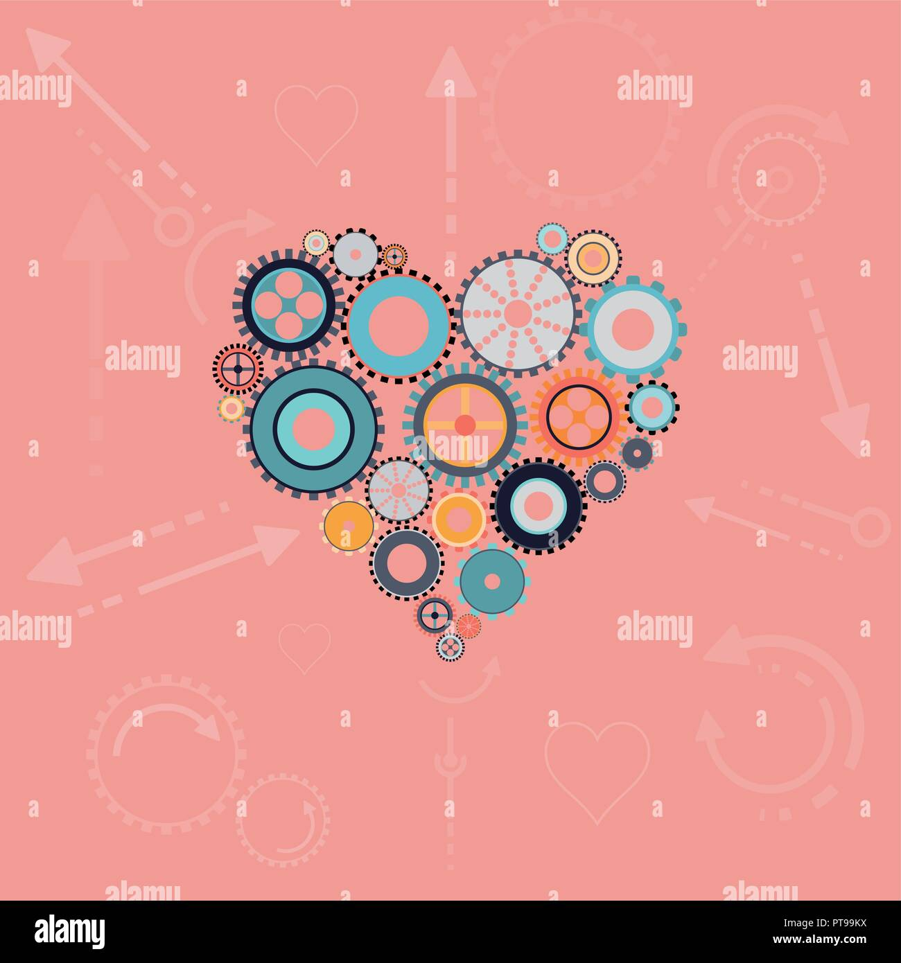 Perfect heart concept in flat design - Stock Vector