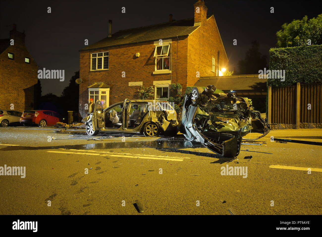 Wreckage of a car that hit a parked car at speed on Knottingley Road in Knottingley , near Pontefract , West Yorkshire. - Stock Image