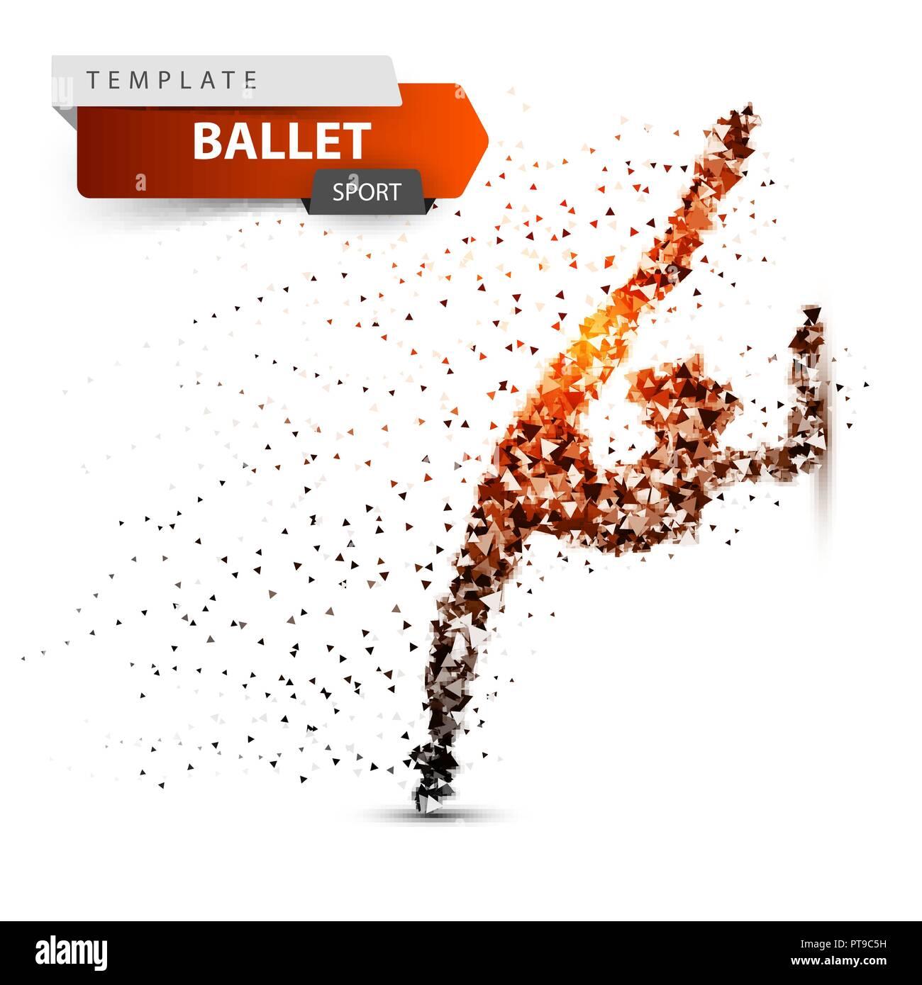 Gymnastics, sport - dot illustration on the white background. - Stock Vector