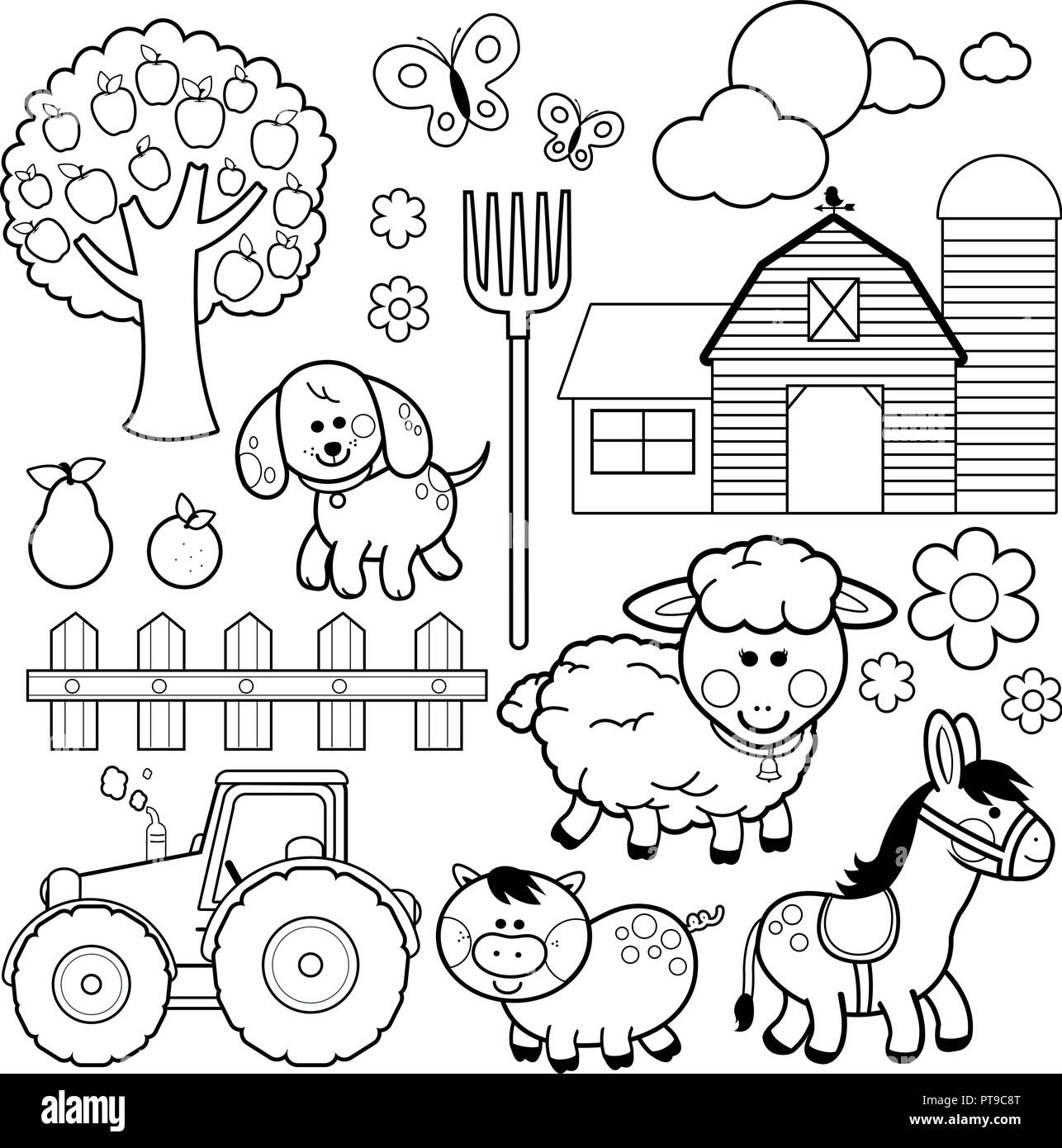 Cartoon safari animals coloring page Royalty Free Vector | 1390x1286