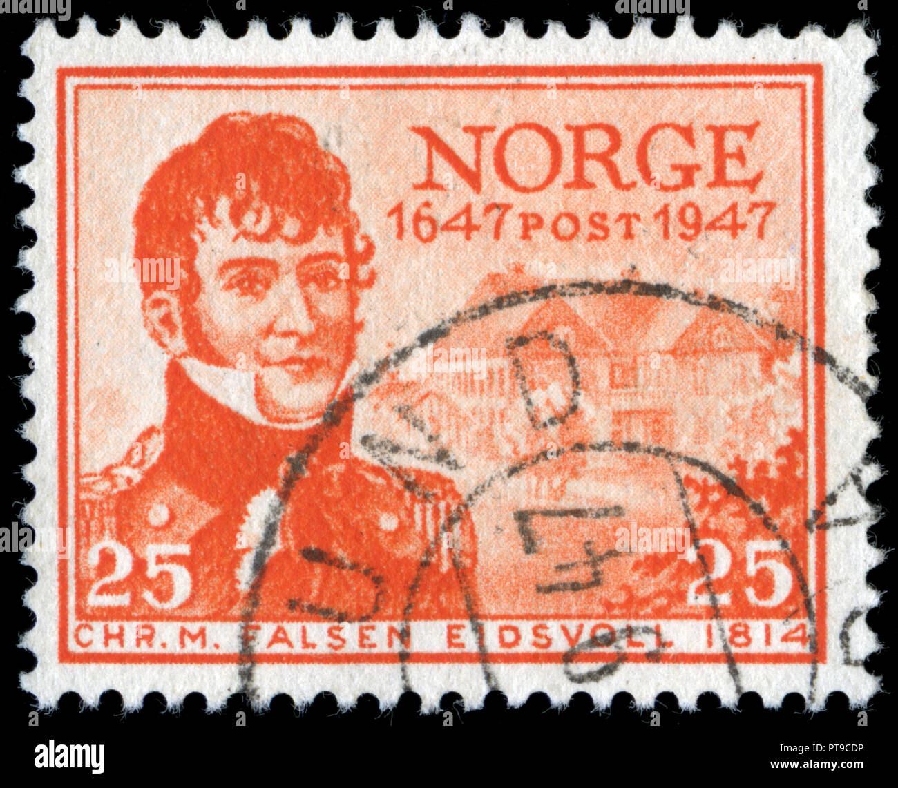 Postmarked stamp from Norway in the Postal Service series issued in 1947 - Stock Image