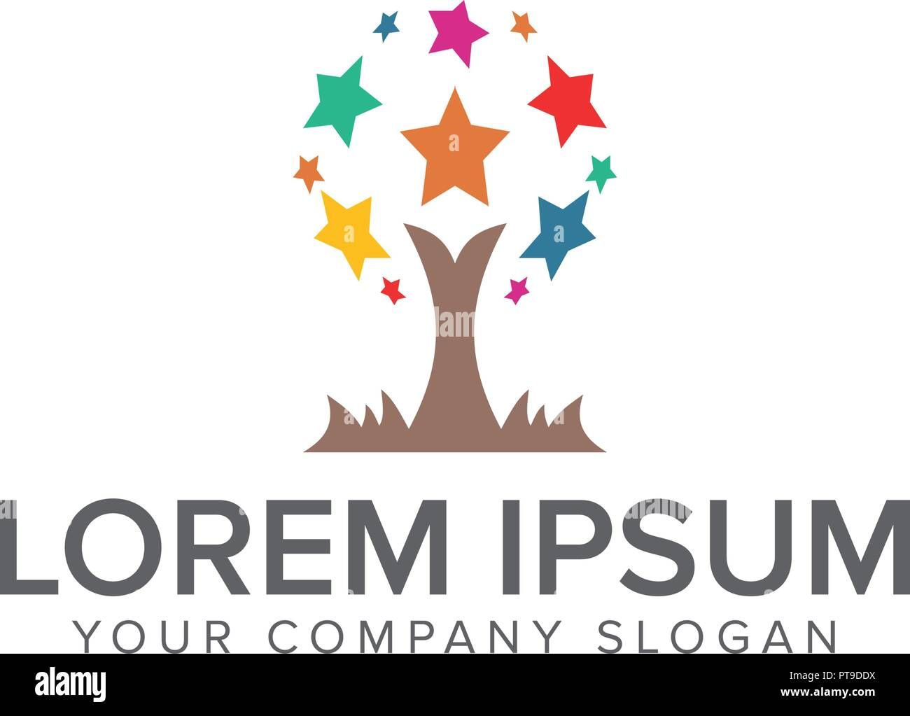 star tree logo design concept template Stock Vector