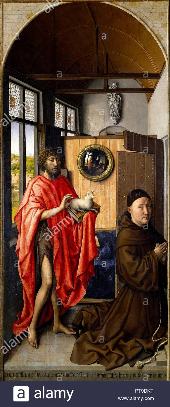 Robert Campin / 'Saint John the Baptist and the Franciscan Heinrich von Werl', 1438, Flemish School, Oil on panel, 101 cm x 47 cm, P01513. Museum: MUSEO DEL PRADO. - Stock Image
