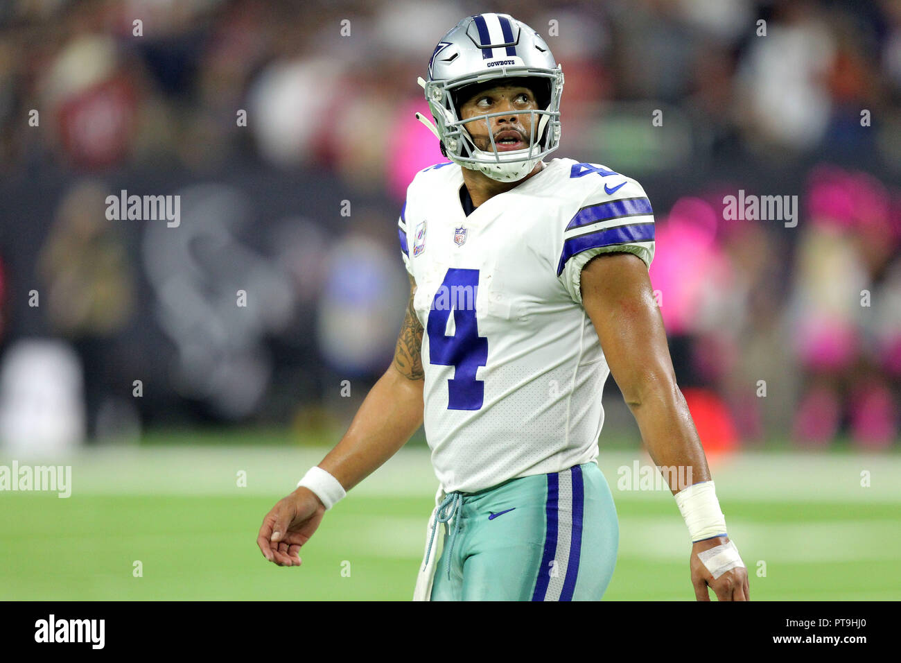 Dallas Cowboys quarterback Dak Prescott (4) walks to the sideline after  calling timeout during the fourth quarter of the NFL regular season game  between the ... 7db6007f9