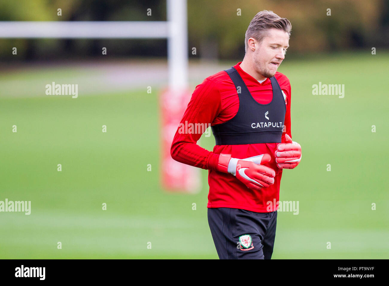 Hensol, Wales, UK. 8th October 2018. Wayne Hennessey during Wales national team training ahead of the International Challenge match against Spain and the UEFA Nations League match agains Ireland. Credit: Mark Hawkins/Alamy Live News Stock Photo