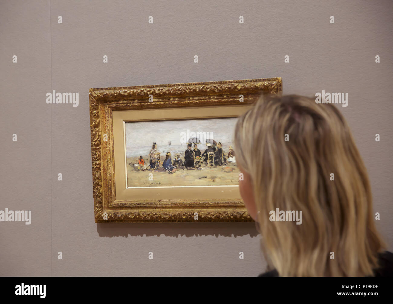 London,UK,8th October 2018,Bonhams Photocall, on display: EUGÈNE BOUDIN (1824-1898) Trouville, scène de plage. Estimatef at £ 100,000 - 150,000. The impressionist and modern art sale takes place on the 11th October at 5pm. Credit: Keith Larby/Alamy Live News - Stock Image