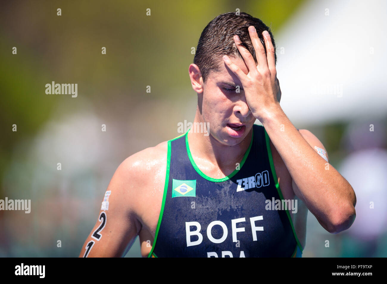 Buenos Aires, Argentina. 08th Oct, 2018. Pedro Henrique Boff do Brasil arrives 20th in the triathlon race of the Buenos Aires 2018 Youth Olympic Games with a total time of 57:26, at the Parque Verde in Palermo, Buenos Aires, Argentina. Credit: Marcelo Machado de Melo/FotoArena/Alamy Live News Stock Photo