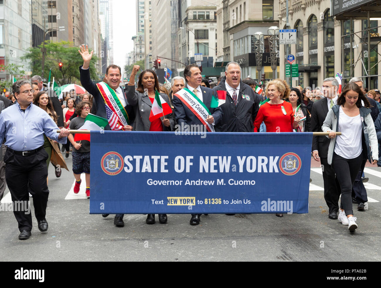 New York, USA - October 8, 2018: Congressman Tom Suozzi, Public advocate Letitia James, Governor Andrew Cuomo, Gary LaBarbera, Congresswoman Carolyn Maloney attend Columbus Day parade along Fifth Avenue in Manhattan Credit: lev radin/Alamy Live News Stock Photo