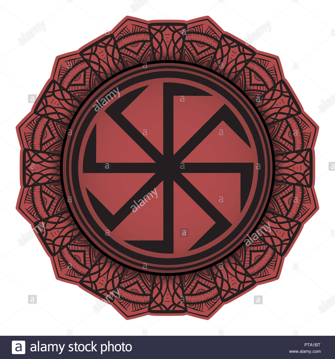 Symbol of the Slavic god representing the sun, decorated with a mini mandala. - Stock Image