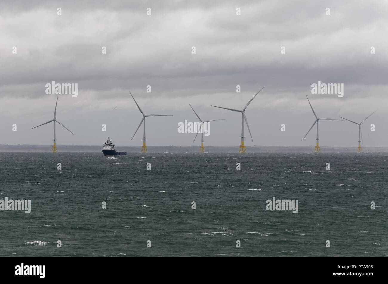 European Offshore Wind Deployment Centre off Aberdeen seen in stormy weather - Stock Image