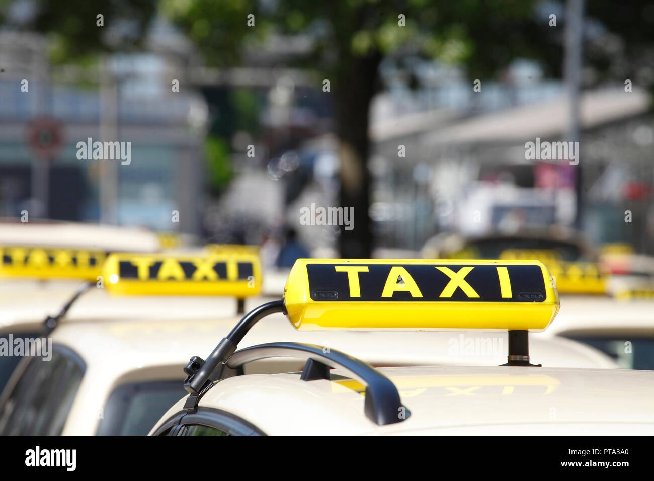 Taxi signs, Germany, Europe  I Taxisschilder, Deutschland I - Stock Image