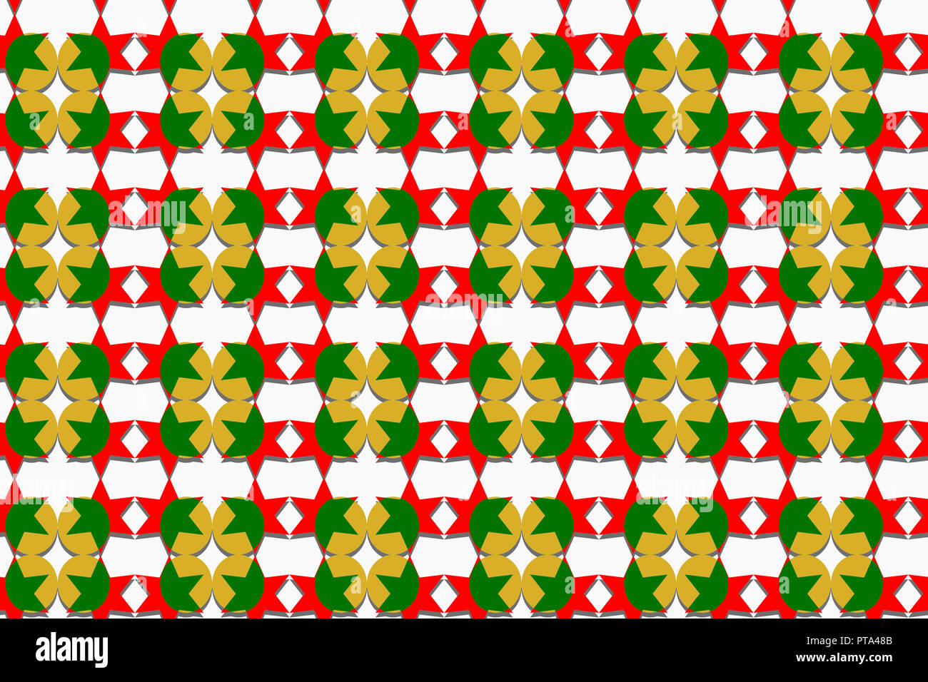 christmas theme seamless pattern of stars and round shapes in red green and gold colors with shadow white background paper art style - Why Are Red And Green Christmas Colors