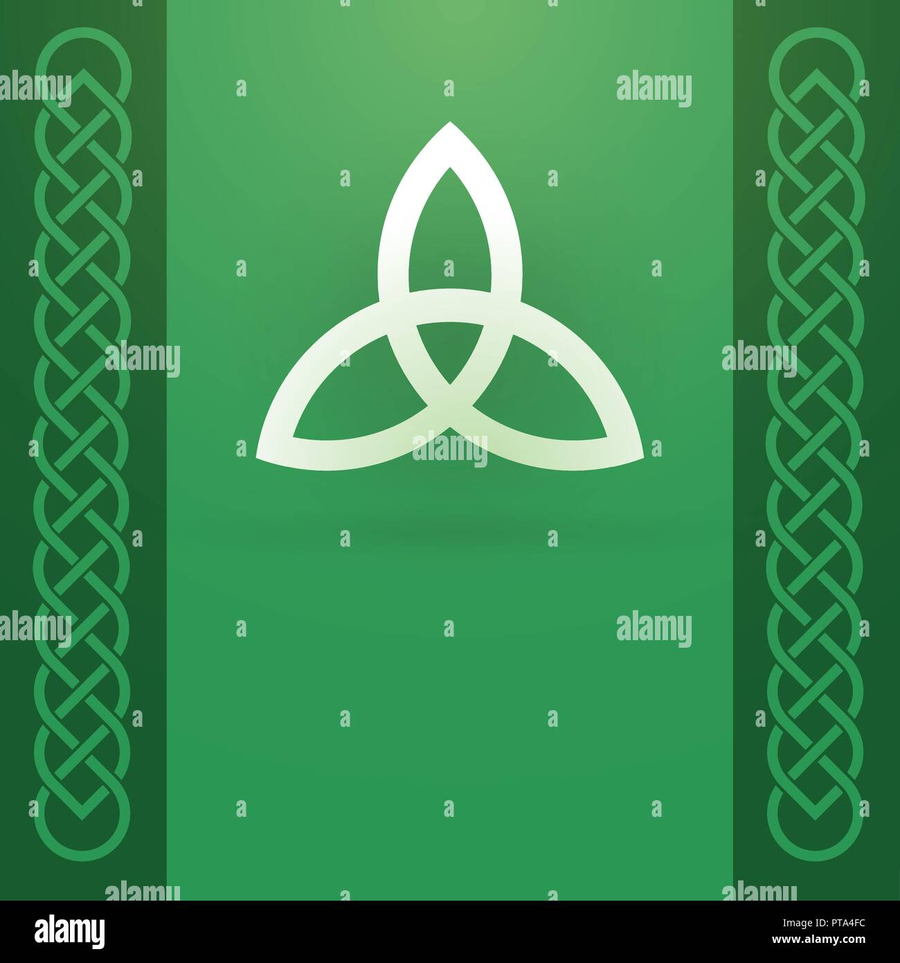 Celtic Knot Ornament and Triquetra Symbol with copy space on green background, Vector Illustration of Ancient Pagan Culture. - Stock Vector