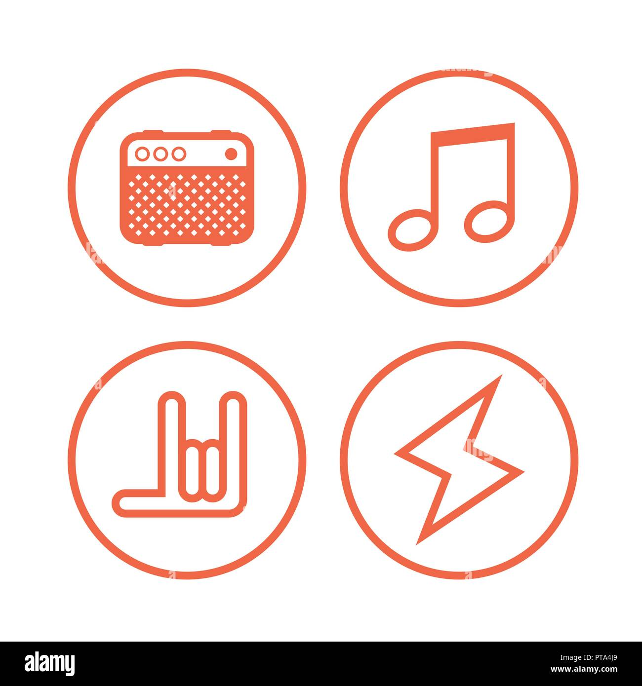 Icon of Rock Music Symbols  Round Vector Icons isolated on white