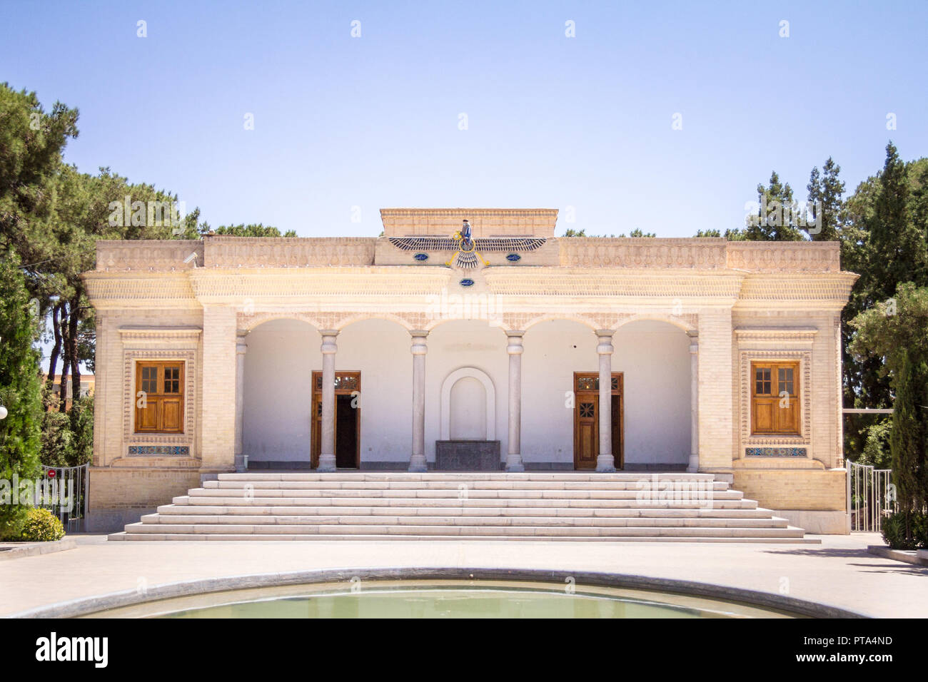 Fire temple in Yazd, Iran, seen from its exterior park. A fire temple in Zoroastrianism is the place of worship for Zoroastrians. The one of Yazd is a - Stock Image