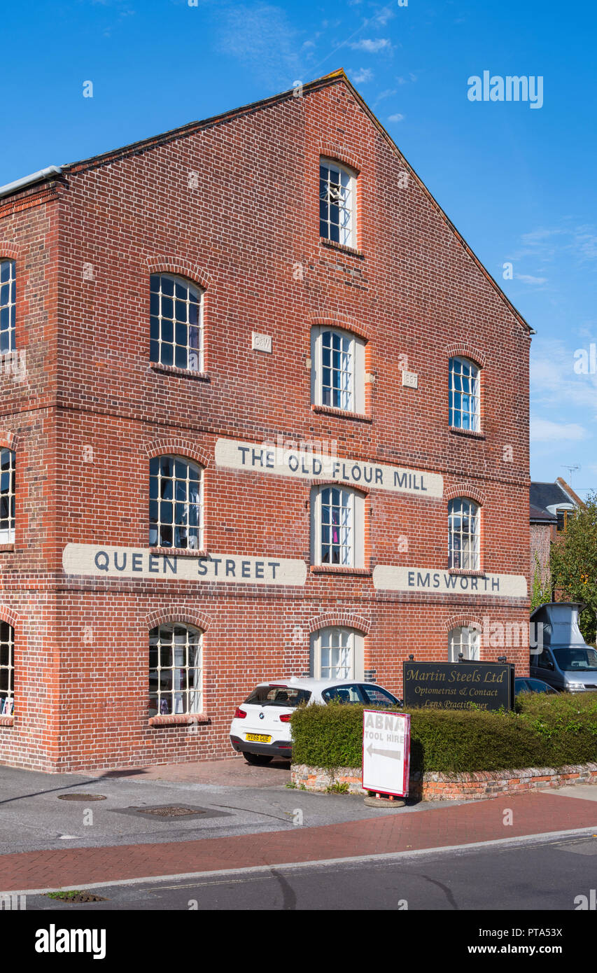 The Old Flour Mill grade II listed building with English Bond brickwork (red bricks) in Emsworth, Hampshire, England, UK. - Stock Image