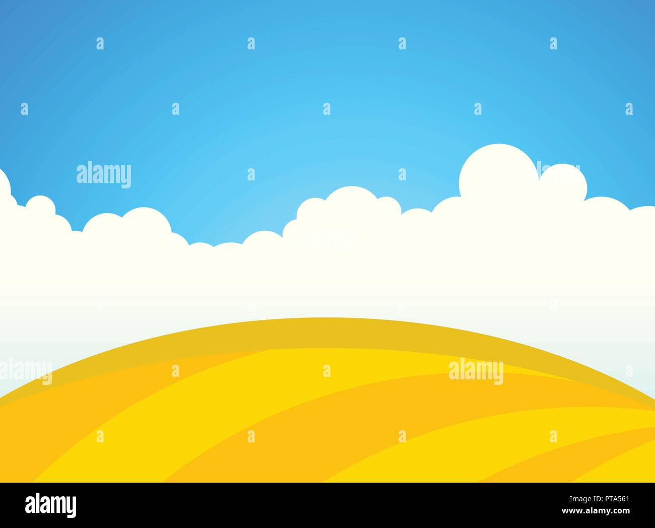 Farm Field of Wheat in Sunny day - Stock Vector