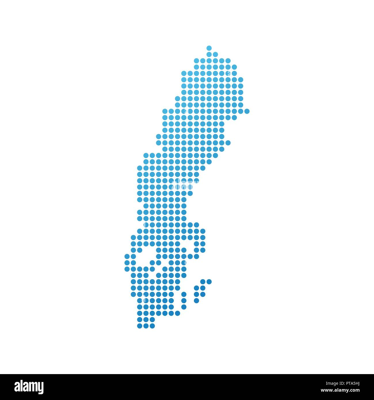Map of Sweden, Vector Icon in blue modern style - Stock Image