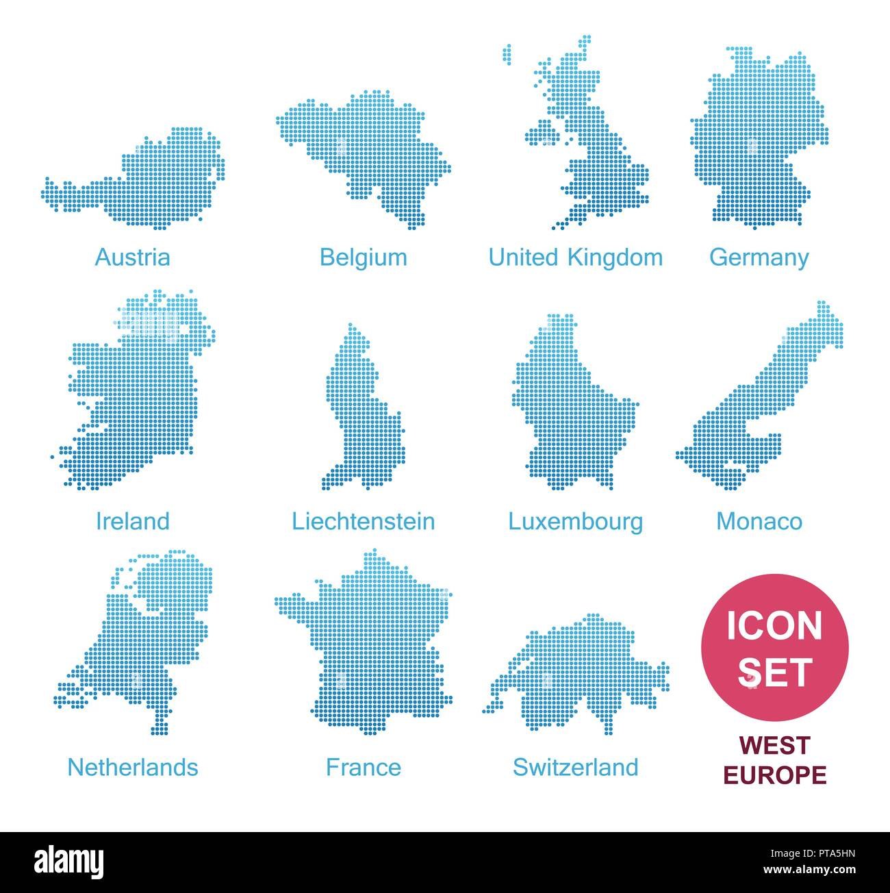 Counties of West Europe, Vector Icon Set in modern style - Stock Vector