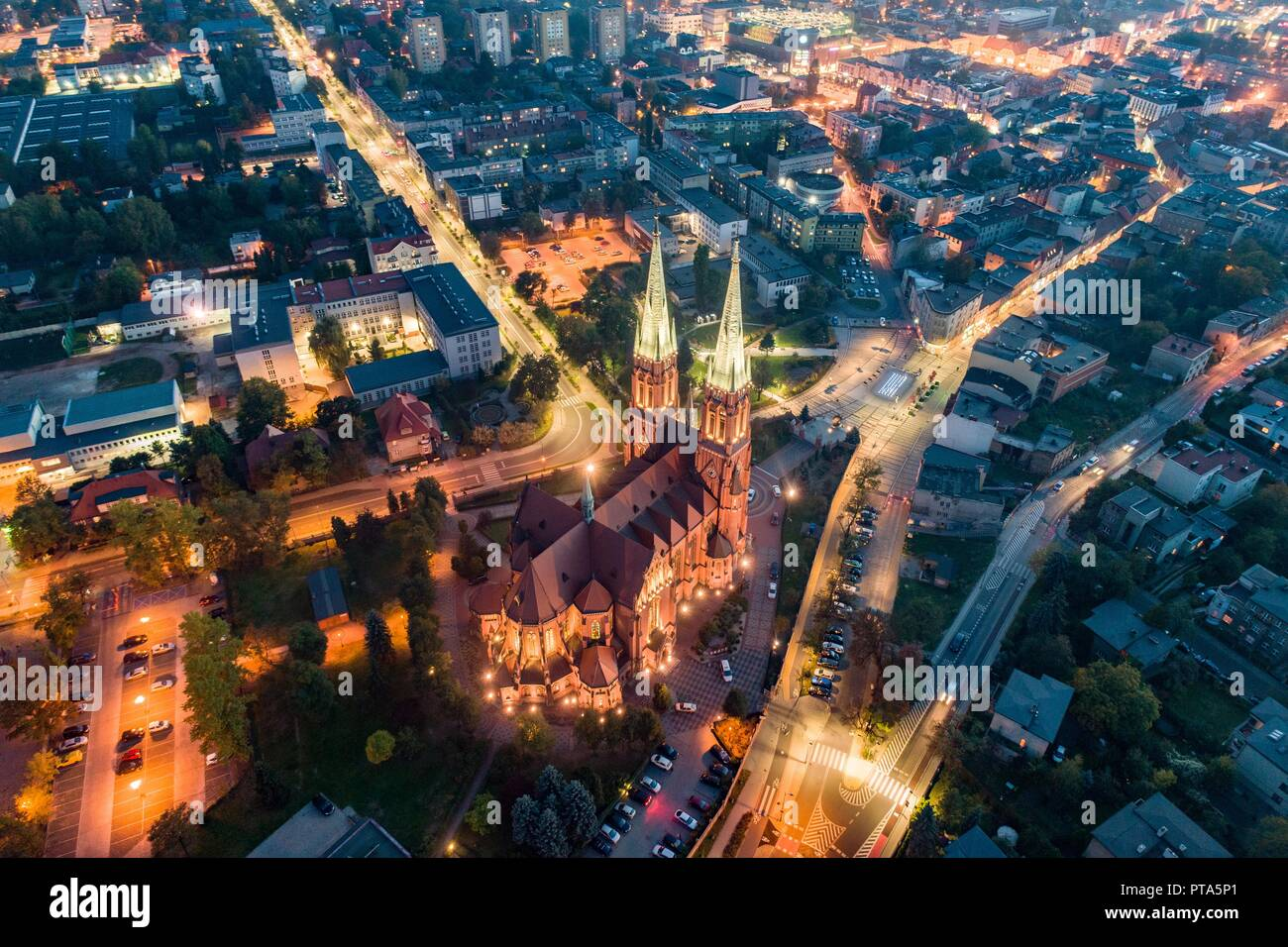 Aerial drone view on Basilica and city center in Rybnik. Rybnik is a city in southwestern Poland, in the Silesian Voivodeship. - Stock Image