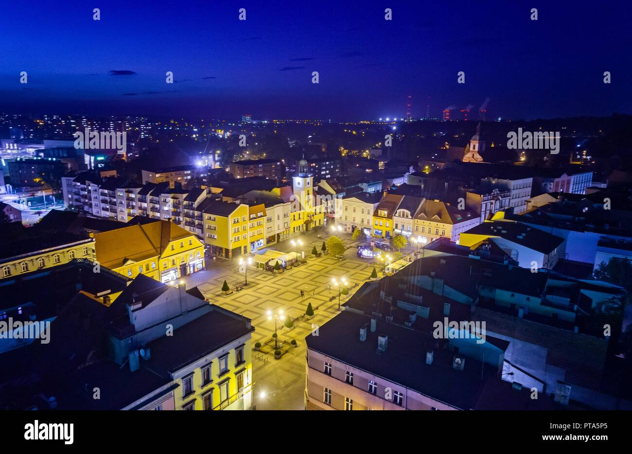 Aerial drone view Rybnik main square at night. Rybnik is a city in southwestern Poland, in the Silesian Voivodeship. - Stock Image
