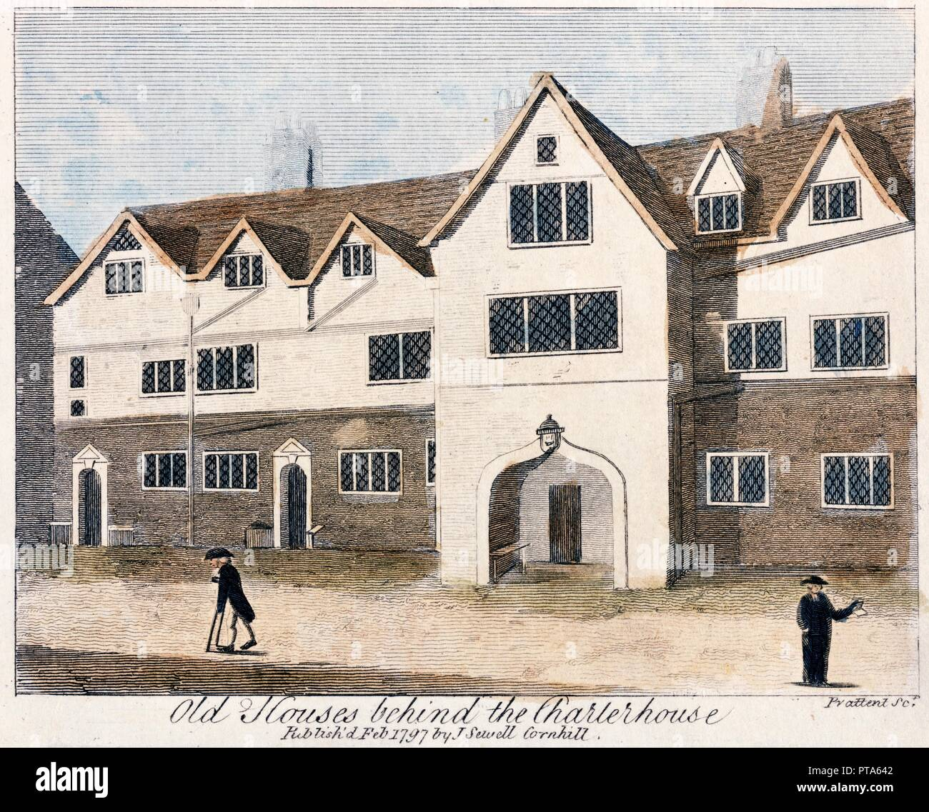 Houses behind the Charterhouse Hospital, London, 1797. 'Old Houses behind the Charterhouse'. Print from the Mayson Beeton Collection. - Stock Image