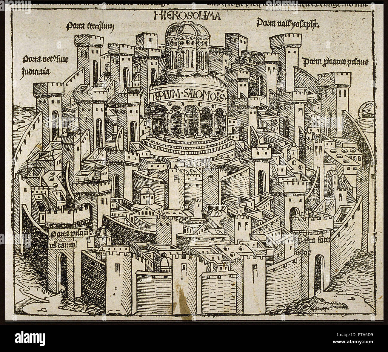 Jerusalem (from the Schedel's Chronicle of the World), ca 1493. Private Collection. - Stock Image