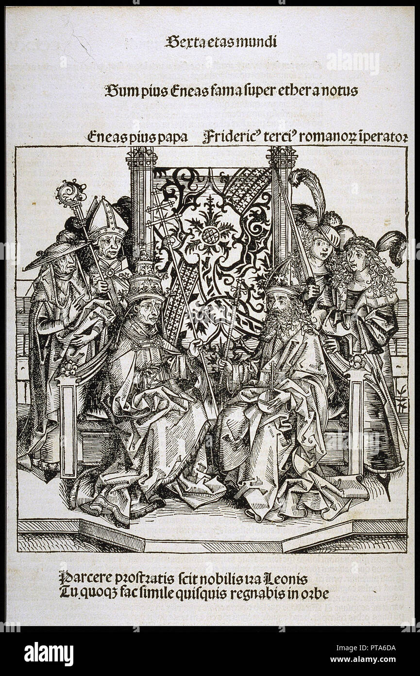 Meeting between Pope Pius II and Frederick III, Emperor of Germany (from the Schedel's Chronicle of the World), ca 1493. Private Collection. - Stock Image