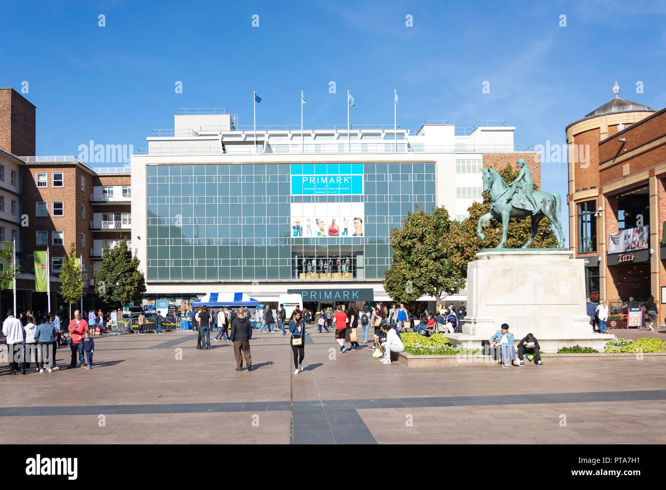 Pedestrianised Broadgate Plaza showing Primark fashion store and  Lady Godiva statue, Coventry, West Midlands, England, United Kingdom - Stock Image