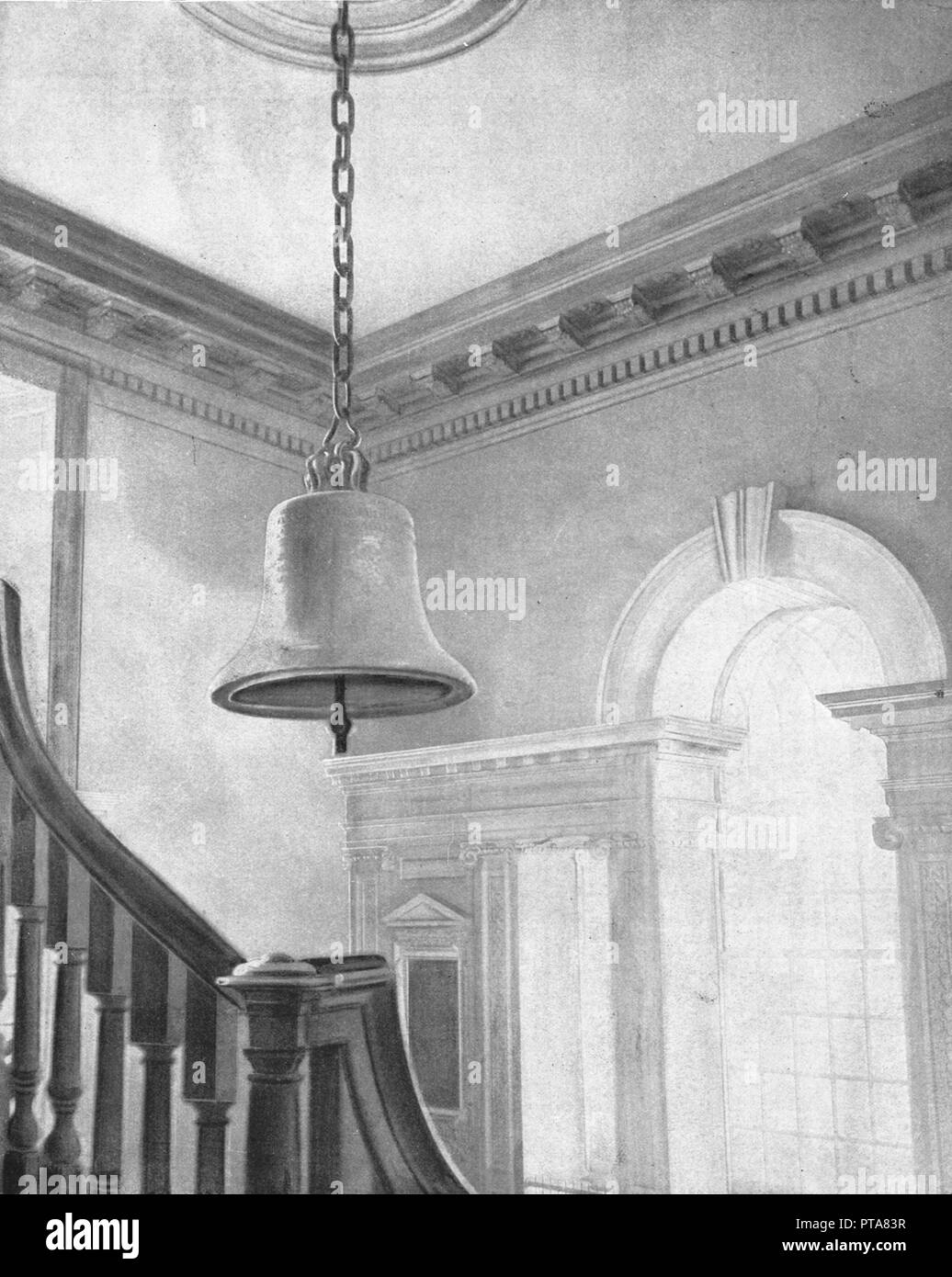 Liberty Bell, Independence Hall, Philadelphia, USA, c1900. Bell associated with the vote for American Independence, and later adopted as a symbol by abolitionist societies in the 1830s, who dubbed it the 'Liberty Bell'. From Scenic Marvels of the New World edited by Prof. Geo.R. Cromwell. [C.N.Greig & Co., c1900] Stock Photo