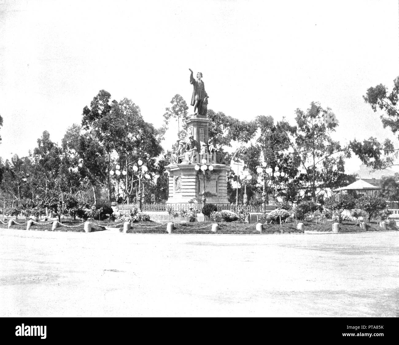 Statue of Columbus on the Paseo, Mexico City, Mexico, c1900.  Creator: Unknown. - Stock Image