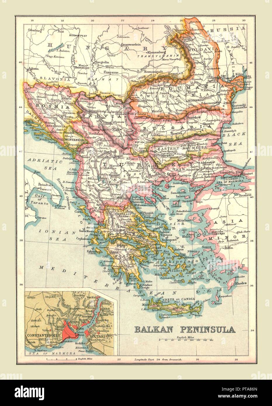 Map of the Balkan Peninsula, 1902. Showing Bosnia, Servia (Serbia), Romania, Bulgaria, and Turkish-occupied Greece, with inset of Constantinople (Istanbul). From The Century Atlas of the World. [John Walker & Co, Ltd., London, 1902] - Stock Image