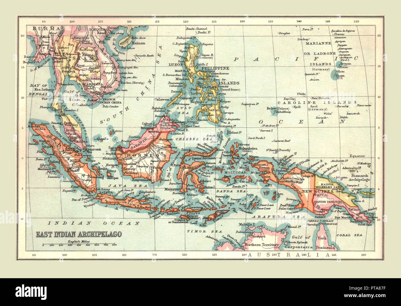 Map of the East Indian Archipelago, 1902. Showing Java, Sumatra, Borneo, Siam, The Philippines, Papua New Guinea and the South China Sea. From The Century Atlas of the World. [John Walker & Co, Ltd., London, 1902] - Stock Image