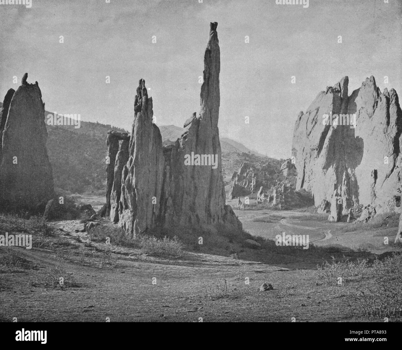 Cathedral Spires, Garden of the Gods, Colorado, USA, c1900. Steep sandstone rock formations caused by erosion over millions of years. From Scenic Marvels of the New World edited by Prof. Geo.R. Cromwell. [C.N.Greig & Co., c1900] - Stock Image