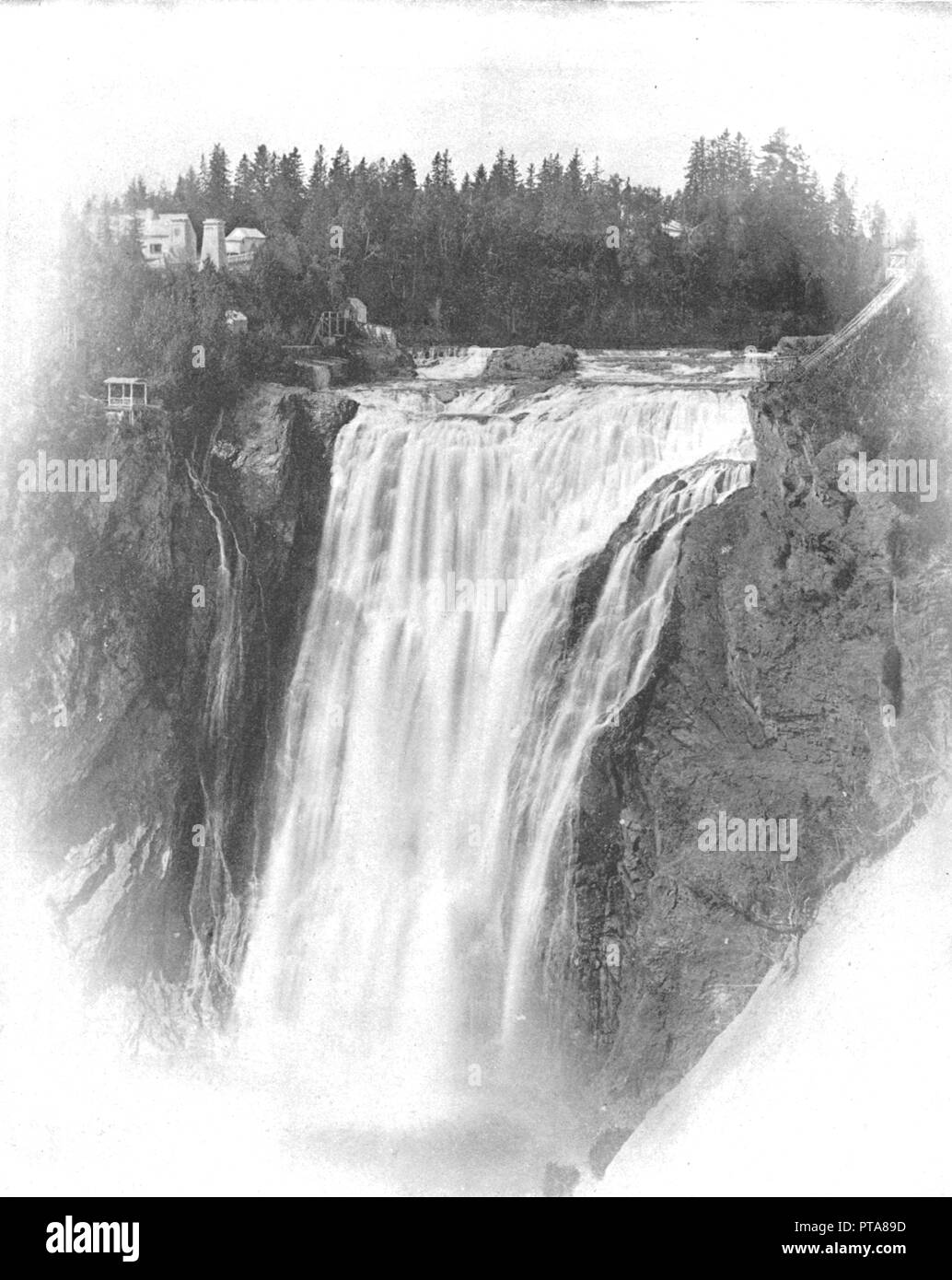 Falls of Montmorency, Quebec, Canada, c1900. The waterfalls are 83 meters tall, 30 meters higher than Niagara Falls. From Scenic Marvels of the New World edited by Prof. Geo.R. Cromwell. [C.N.Greig & Co., c1900] - Stock Image